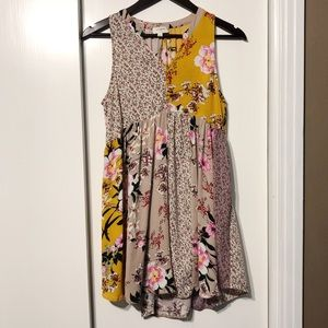 Boho Quilted Floral Shift Dress